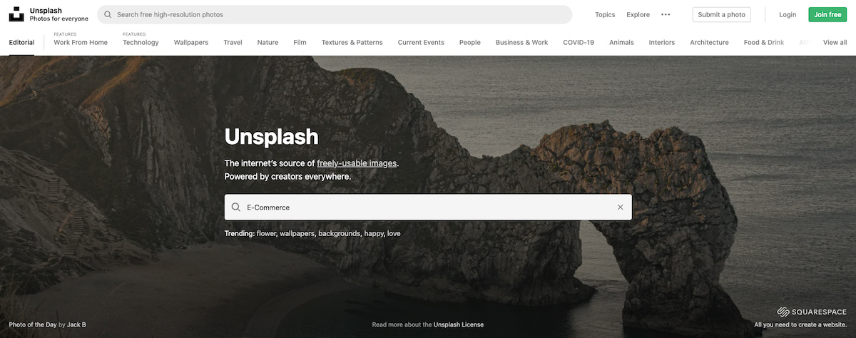 image research with unsplash for freely usable images